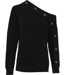 maglione con spalla scoperta e bottoni (nero) - bodyflirt