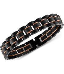 esquire men's jewelry watch link bracelet in stainless steel, black carbon fiber & rose ion-plate, created for macy's