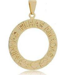 pingente minhas filhas amadas folheado a ouro 18k feminino - feminino