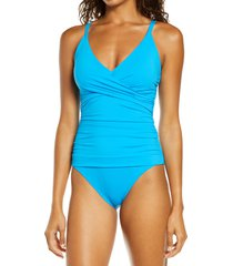 women's tommy bahama pearl one-piece swimsuit, size 16 - blue