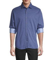 robert graham men's contrast classic-fit shirt - navy - size l