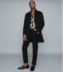 reiss kernel - slim fit printed shirt in black/ecru, mens, size xxl