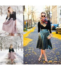 2016 womens fashion tea length sequins skirt princess party celebrity skirts