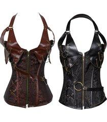 plus size zip front brocade steampunk faux leather corset lingerie basque shaper