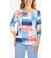 petite relax and enjoy patchwork watercolor print top