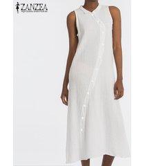 zanzea mujer gira el collar abajo sin mangas de la playa del vestido de la túnica casual camisa floja -blanco