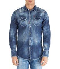 camicia uomo maniche lunghe in denim jeans western