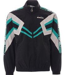 diadora mvb track jacket   black and holly green   173618-8346