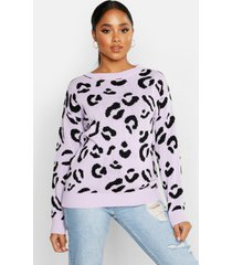 leopard knitted sweater, lilac