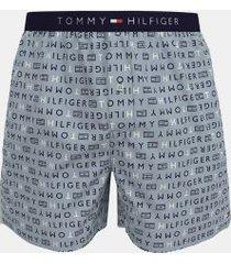 tommy hilfiger men's cotton classics woven boxer blue fog logo print - m