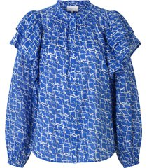 blouse met ruches dayly  blauw