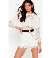 womens lacey for you ruffle high neck romper - cream