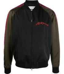 alexander mcqueen dragon-embroidered bomber jacket - black