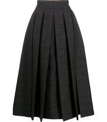 fendi check-pattern pleated full skirt - black