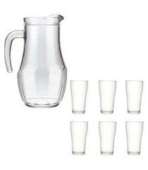 kit jarra de vidro tango 1,5 l e 6 copos de vidro 200ml
