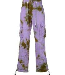 palm angels tie-dye drawstring cargo trousers - purple