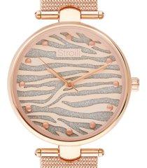 orologio solo tempo con cinturino maglia milanese e cassa in acciaio rosato per donna