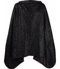 black comme des garçons leopard-print cotton cape