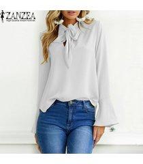 zanzea mujeres de gran tamaño sólido largo de la llamarada del partido holgada manga ata para arriba la pajarita suelta elegante suéter de la manera del ocio de la blusa breve -blanco
