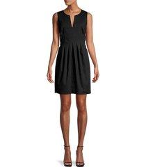 halston heritage women's linen-blend pleated dress - black - size 8