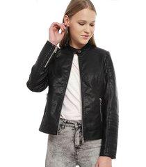 chaqueta ellus pu moto negro - calce regular