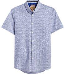 joe joseph abboud blue floral short sleeve slim fit sport shirt