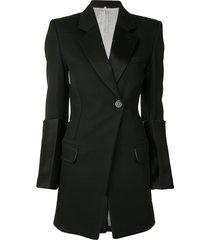 peter do contrast-cuff wool blazer - black