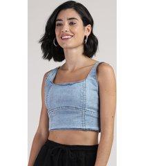 top cropped jeans feminino alça larga decote reto azul claro