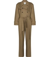 frankie shop belted trench jumpsuit - green