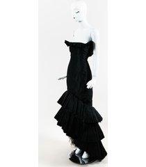 oscar de la renta tiered tulle strapless mermaid gown black sz: custom