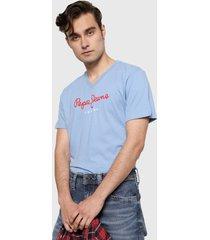 camiseta azul-rojo pepe jeans