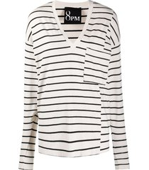 8pm panelled striped top - neutrals
