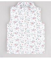 colete infantil puffer matelassê estampado floral branco