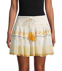 smocked tassel tie mini skirt