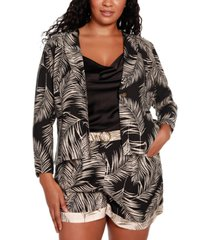 belldini black label plus size palm print lapel collar blazer