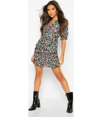 leopard print ruffle tea dress, green