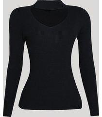 suéter feminino em tricô ajustado gola alta preto