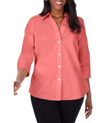 foxcroft paityn non-iron cotton shirt, size 18w in scarlet flame at nordstrom