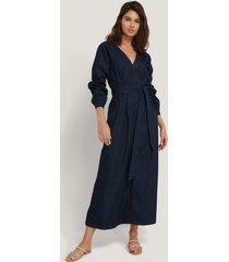 na-kd trend long sleeve denim dress - blue