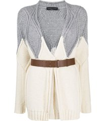 fabiana filippi belted diamond-knit cardigan - neutrals