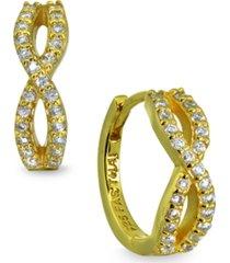 cubic zirconia infinity huggie hoop earrings in 18k gold plated sterling silver