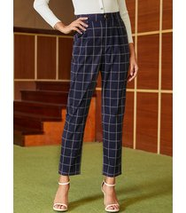 yoins navy check high-waisted pantalones