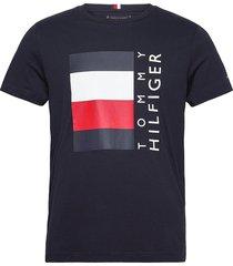 corp stripe box tee t-shirts short-sleeved blå tommy hilfiger