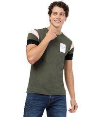 camiseta  combinada en mangas verde militar manpotsherd francia