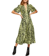 women's topshop animal print angel sleeve midi dress, size 14 us - green