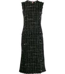 thom browne classic plaid ribbon tweed pencil dress - black