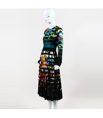 multicolor silk floral shadow stripe print erba dress
