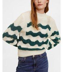 mango striped openwork knit sweater