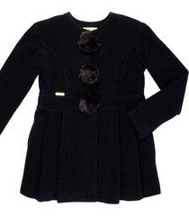 casaco lã com pompom removível gingga baby e kids preto lara
