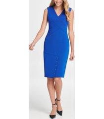 dkny v-neck snap skirt compression sheath dress